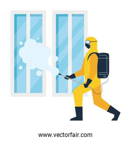 person in protective suit or clothing, spray to cleaning and disinfect virus in window, covid 19 disease on white background