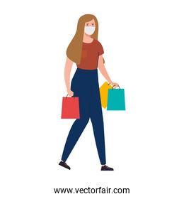 happy woman wearing medical mask, carrying shopping bags on white background