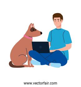 young man using laptop computer with dog pet on white background
