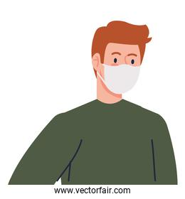 man wearing protective medical mask against covid 19 on white background