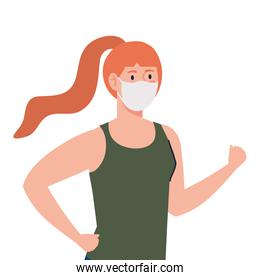 woman wearing medical protective mask against covid 19 on white background
