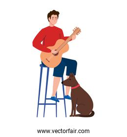 young man playing guitar sitting a chair with dog pet on white background