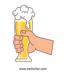 hand holding a beer glass, on white background