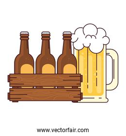 beers set in the wooden box with mug glass beer, on white background