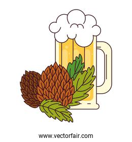 mug of beer with hop seeds on white background