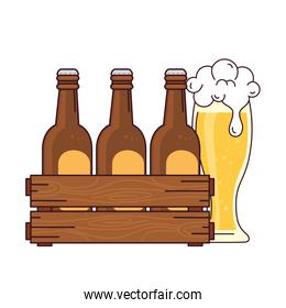 beers set in the wooden box with glass beer, on white background