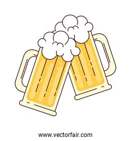 mugs of beer with froth, cheers, on white background