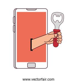 distant communication, hand holding a bottle opener through smartphone screen