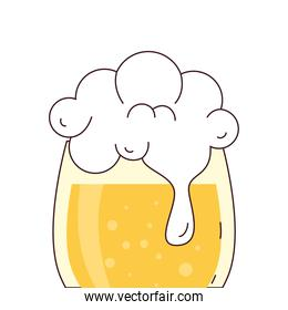 glass of beer with froth on white background