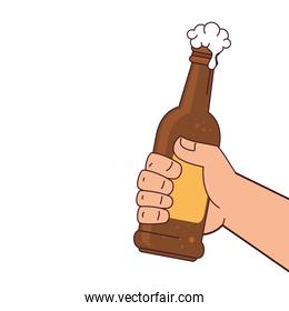 hand holding a beer bottle, on white background