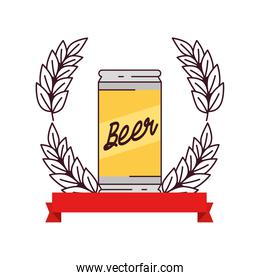 beer can with decoration of spike and ribbon on white background