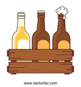 beers set in the wooden box, on white background