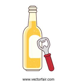 bottle of beer with bottle opener on white background