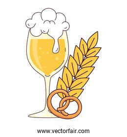 cup glass of beer, with pretzel and spike on white background