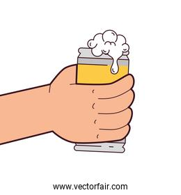 hand holding a beer can, on white background