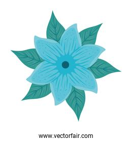 flower blue color, with tropical leaves on white background