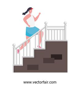 woman running, climbing stairs, female athlete on white background