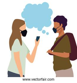 young couple wearing medical masks and speech bubbles