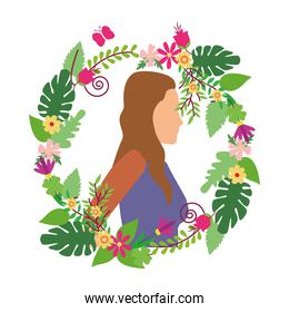 young woman casual in floral wreath avatar character