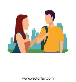 young casual couple on the city characters