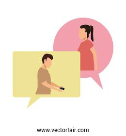 young casual couple in speech bubbles