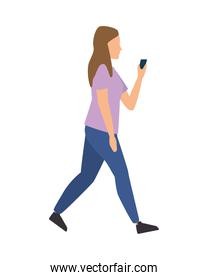 young woman using smartphone avatar character