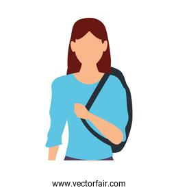 young woman casual with schoolbag avatar character