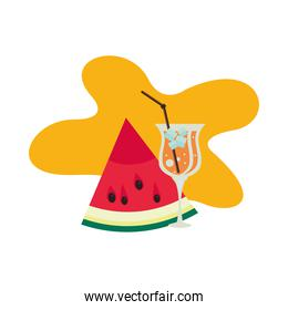 watermelon fresh fruit with tropical cocktail