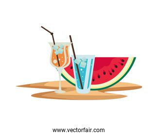 watermelon fresh fruit with tropical cocktails