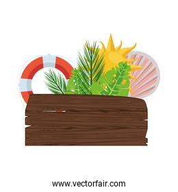 label wooden signal with leafs palm and summer icons