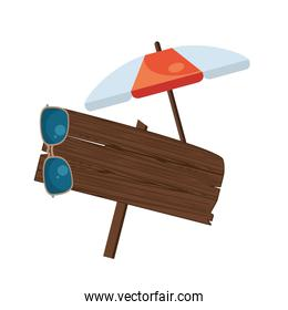 label wooden signal with umbrella and sunglasses