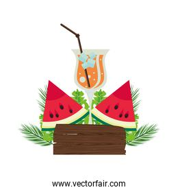 label wooden signal with watermelon and tropical cocktail