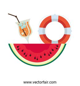 watermelon fresh fruit with lifeguard float and cocktail