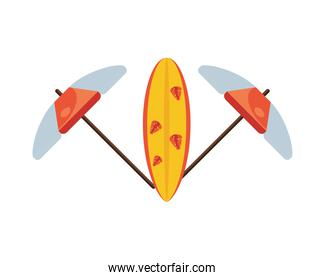 umbrellas beach accessory and surfboard isolated icon