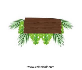 label wooden signal with leafs palm summer icon