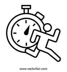 runner avatar figure with chronometer line style icon