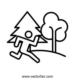 runner avatar figure with pines forest line style icon