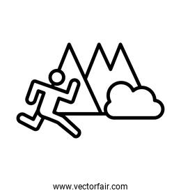 runner avatar figure in the camp line style icon