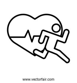runner avatar figure with heart cardio line style icon