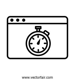 chronometer timer in webpage template line style icon