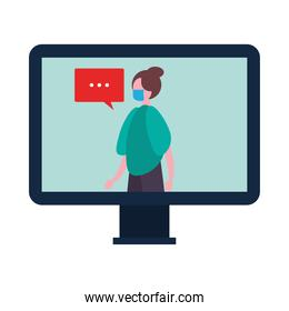 woman wearing medical mask in desktop with speech bubble character