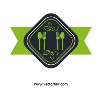 cutleries and leafs plants organic product icon