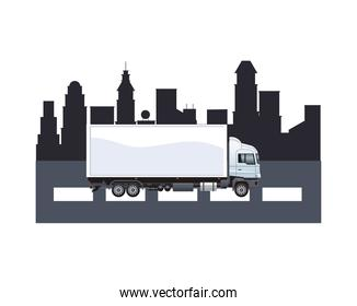 truck white branding on the city isolated icon
