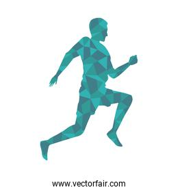 silhouette of athletic man running