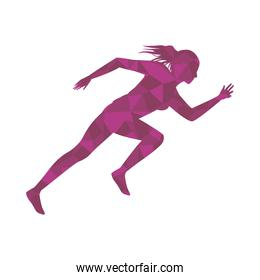 silhouette of athletic woman running