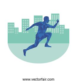 silhouette of athletic man running on the city