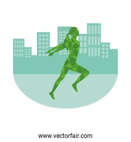 silhouette of athletic woman running on the city
