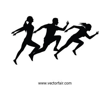 silhouettes of athletics people running