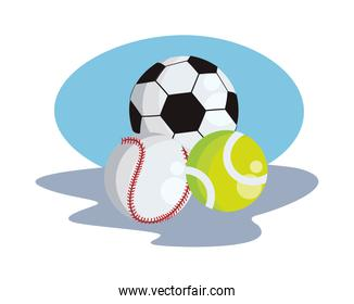 soccer with tennis and baseball sport balloons