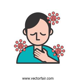 person with sore throat covid19 symptom and particles